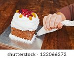Christmas creamy cake decorated with pastry bag - stock photo
