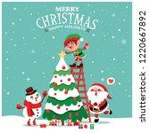 vintage christmas poster design ... | Shutterstock .eps vector #1220667892