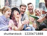group of happy friends doing... | Shutterstock . vector #1220671888