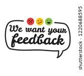 we want your feedback. badge ...   Shutterstock .eps vector #1220688595