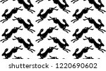 Stock vector racing black hare seamless vector pattern on white background 1220690602