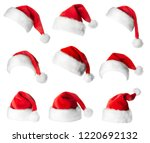 set of red santa claus hats... | Shutterstock . vector #1220692132