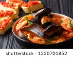 bouillabaisse soup with seafood ... | Shutterstock . vector #1220701852