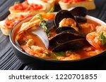 freshly cooked seafood... | Shutterstock . vector #1220701855