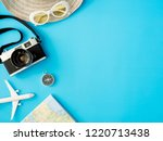 top view travel concept with... | Shutterstock . vector #1220713438
