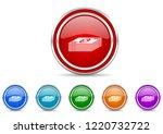 silver metallic chrome border...   Shutterstock .eps vector #1220732722