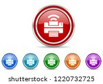 silver metallic chrome border...   Shutterstock .eps vector #1220732725