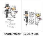 cartoon wedding picture | Shutterstock .eps vector #122075986