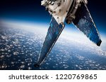 space satellite orbiting the... | Shutterstock . vector #1220769865