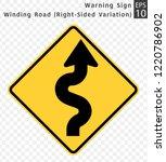road sign. warning. winding... | Shutterstock .eps vector #1220786902
