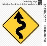 road sign. warning. winding... | Shutterstock .eps vector #1220786908