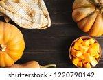 a frame of whole pumpkins of...   Shutterstock . vector #1220790142