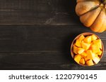 big appetizing whole pumpkin... | Shutterstock . vector #1220790145
