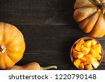 a frame of whole pumpkins of...   Shutterstock . vector #1220790148