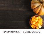 big appetizing whole pumpkin...   Shutterstock . vector #1220790172