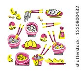 set of traditional chinese food.... | Shutterstock .eps vector #1220800432