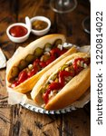 hot dogs with pickled cucumbers ... | Shutterstock . vector #1220814022