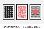 a set of three framed art... | Shutterstock .eps vector #1220821018