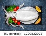 fresh raw cuttlefish. raw squid ... | Shutterstock . vector #1220832028