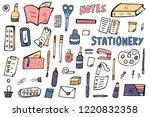 set of vector office supplies.... | Shutterstock .eps vector #1220832358