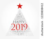 2019 year greeting word cloud... | Shutterstock .eps vector #1220838412