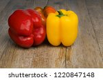 peppers gourmet on old wooden... | Shutterstock . vector #1220847148