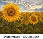 Landscape With Sunflowers Oil...