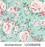 Stock vector seamless vintage flower pattern on navy background 122086858