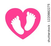 baby footprints in heart icon   ... | Shutterstock .eps vector #1220882275