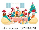 big happy family sitting ... | Shutterstock .eps vector #1220884768