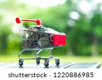 supermarket trolley with coins...   Shutterstock . vector #1220886985