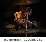 thrill seeking female exploring ... | Shutterstock . vector #1220887252