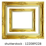 old antique gold frame in blank ... | Shutterstock . vector #122089228