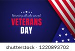 veterans day greeting card with ... | Shutterstock .eps vector #1220893702