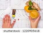 woman is choosing natural... | Shutterstock . vector #1220905618
