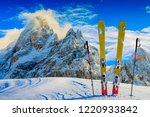 skiing with amazing panorama of ... | Shutterstock . vector #1220933842