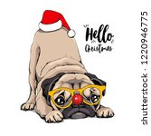 adorable beige puppy pug in a... | Shutterstock .eps vector #1220946775