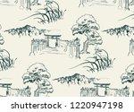 thorium temple nature landscape ... | Shutterstock .eps vector #1220947198