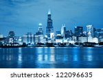 Chicago Night Skyline As...