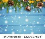 christmas background and cones... | Shutterstock . vector #1220967595