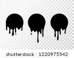 Black paint oil dripping circle. abstract blob. Current drops. Current inks Paint fall down liquid. Paint flows. Vector illustration. Easy  edit Transparent background. - stock vector
