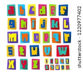 new font  cut colorful letters... | Shutterstock .eps vector #1220977402