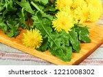 fresh dandelion leaves with... | Shutterstock . vector #1221008302