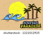 surfing surf themed hand drawn... | Shutterstock .eps vector #1221012925