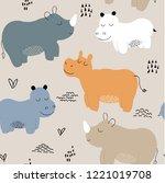 hippopotamus seamless pattern.... | Shutterstock .eps vector #1221019708