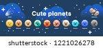 big set of cute cartoon planets ...   Shutterstock .eps vector #1221026278
