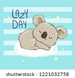 beautiful cute childish print... | Shutterstock .eps vector #1221032758