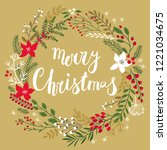 christmas callygraphic floral... | Shutterstock .eps vector #1221034675