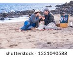 nice couple have fun in... | Shutterstock . vector #1221040588