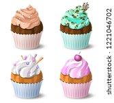 set of cupcakes. cake dessert... | Shutterstock .eps vector #1221046702